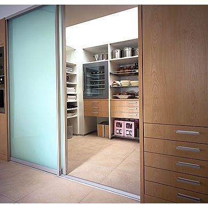 maple frosted glass pantry door for contemporary kitchen | Modern walk-in pantry with opaque glass sliding doors ...