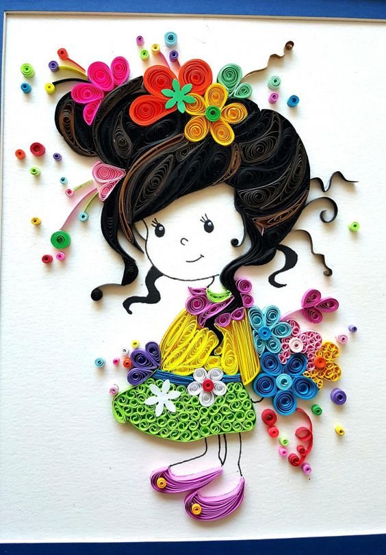 Paper quilled 39 evelynn 39 cute little girl doll nursery for Cute designs for paper