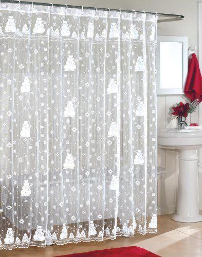 Curtains Ideas christmas curtain fabric : Snowman Lace Fabric Shower Curtain | Christmas Shower Curtains ...