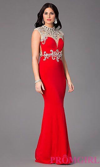Red high neck evening dress