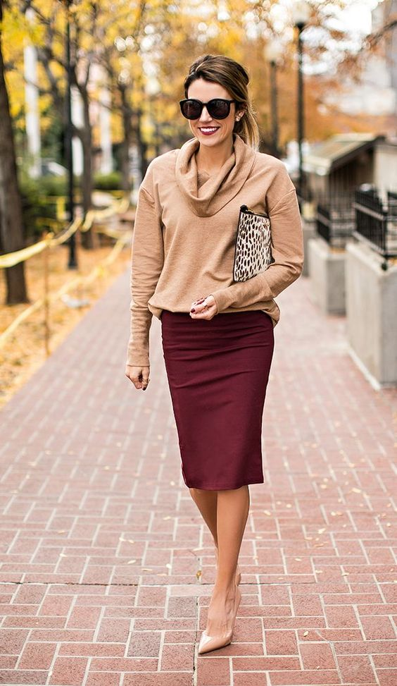maroon lace skirt/ tan swtr