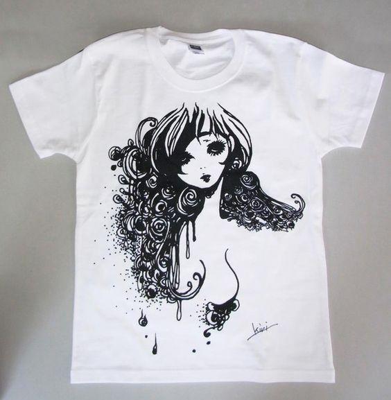 女の子を描いた、オリジナルTシャツです。ガールズMサイズの1サイズTシャツはスッキリしたシルエットになっています。 ハンドメイド、手作り、手仕事品の通販・販売・購入ならCreema。