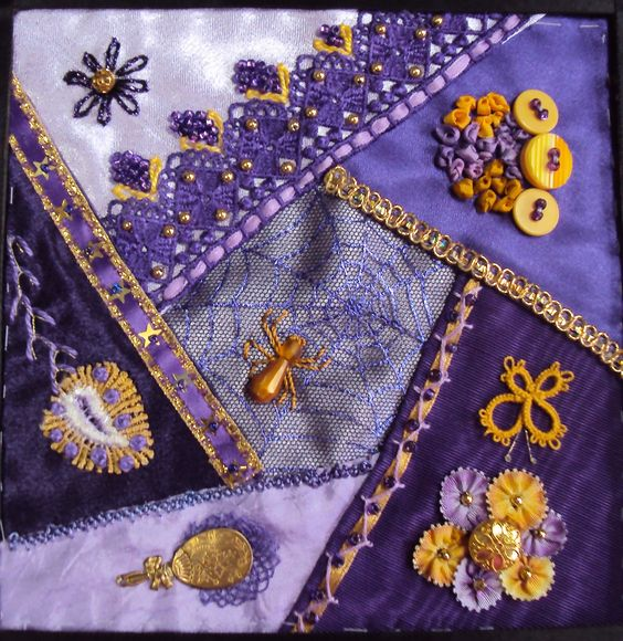 I crazy quilting ribbon embroidery by maxine m