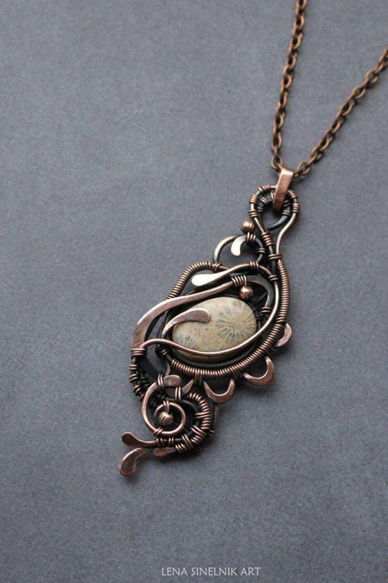 Coral pendant Wirewrap necklace Wire wrapped by LenaSinelnikArt