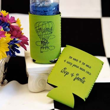#CaitlinCartoon design: #HotAirBalloonWedding Couple on a #limekoozie is a #funweddingguestgift. Minimum order is 25 with no set-up charges. Delivery is 3 weeks but RUSH is available for an extra charge. #Koozies come in lots of fun colors. To see the entire collection, visit www.FavorsYouKeep.com or call us at 512.323.0600 -Austin,TX #weddingfavorkoozies #hotairballoontheme #customkoozies