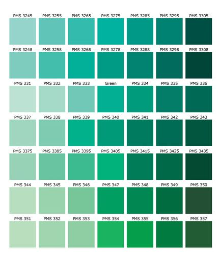 Green color names palette hue blog pantone shades of for Colors shades of green