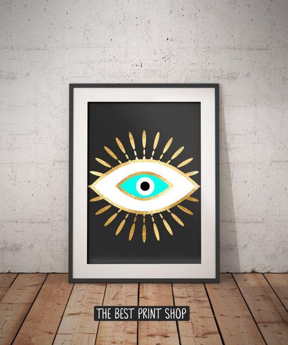 Evil Eye Gold Foil Print, Geometric Bohemian Poster, Black