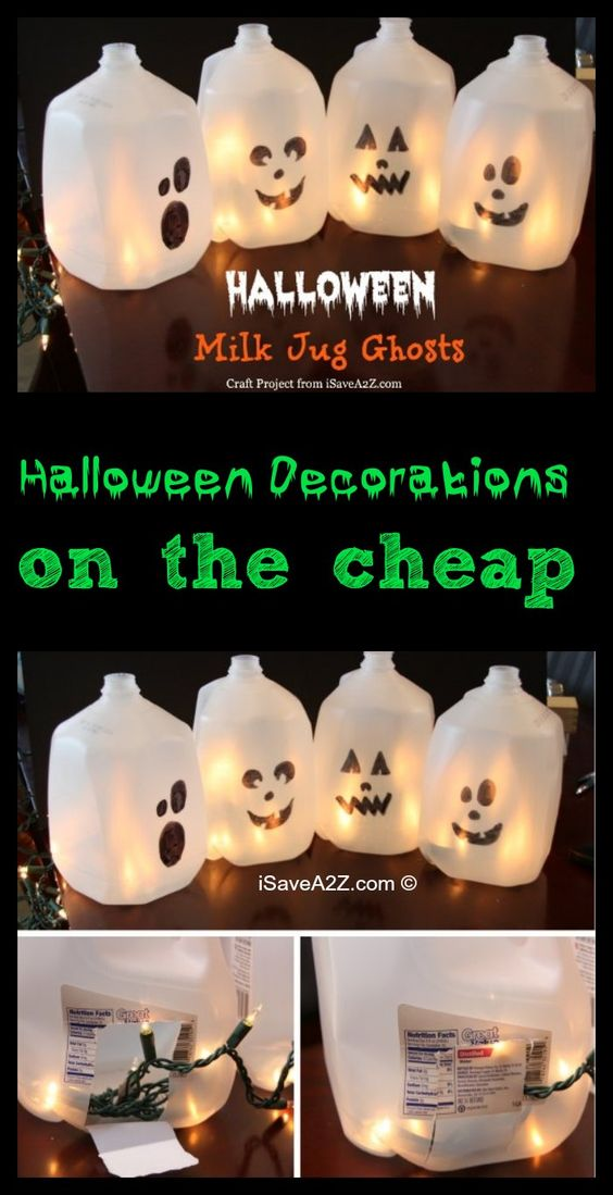 Halloween Decorations on the cheap - Milk Jug Ghosts Trick or - halloween milk jug decorations