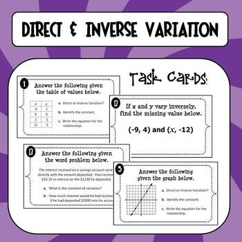 Worksheets Printable Direct And Inverse Variation Worksheet With Answer Key task cards and student on pinterest direct inverse variation these are very thorough versatile to help