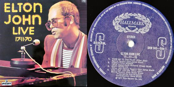 Elton John Live 17 11 70 1977 Uk Issue Lp 33 Rpm Album Vinyl Record Pop Rock 70s Piano Rocket Man Shm942 Lp Albums Elton John Elton John Live