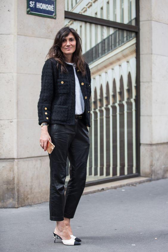 Calça de Couro e Spencer estilo Chanel