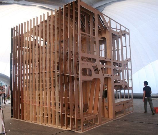 Constructed from 160 2440mm x 1220mm (8' x 4) sheets of 18mm  plywood