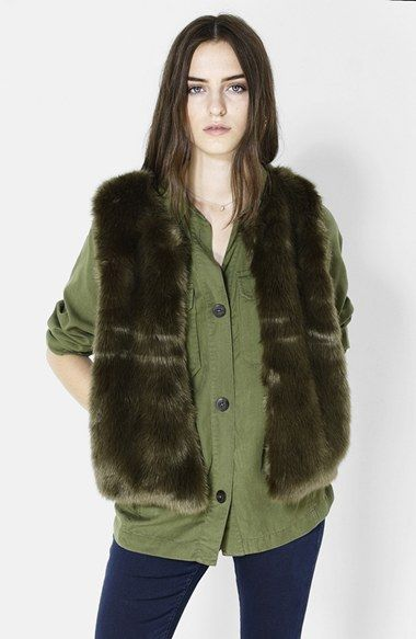 Trend Alert - Military Khaki  Topshop Faux Fur Gilet Vest Check out for more Fall/Winter 2014 trends here http://keatonrow.com/lookbook/54391b1f3f25797e6c9efa68