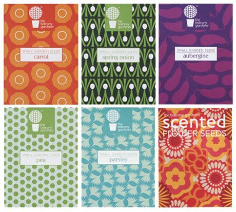 """These beautifully patterned seed packets designed by Chloe Dunn for The Balcony Gardener evoke the lush appeal of the Penguin Hardcover Classics series. One can only wonder what dramas will play out in the garden this season. Will Parsley and Aubergine find true love? Will the mysterious Carrot burrow even further away from the heady socialites of the upper humus?""- from Chronicle Books"