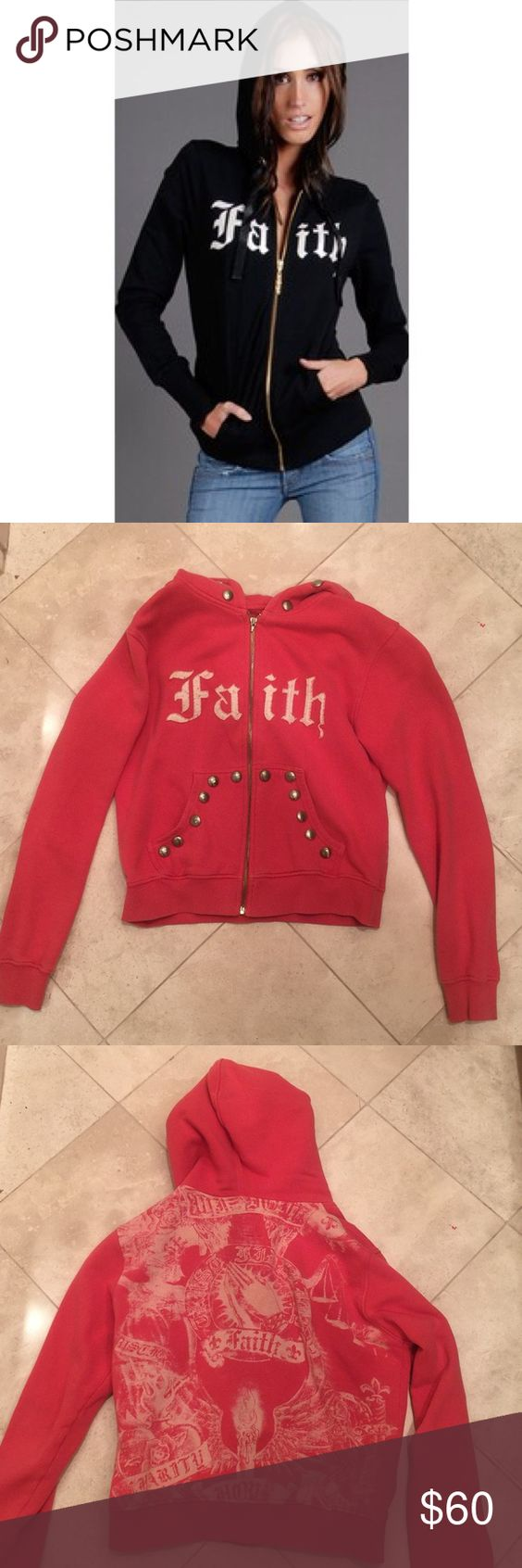 Faith Connexion Studded Red Zip Hoodie French Connexion Studded Zip Hoodie! Pre-owned sweatshirt in good condition- the decorative clasp on the zipper is missing (pictured). Sweater is fully usable and able to zip, the large decorative clasp is just missing. Contact me for more details/pictures if interested. Fits true to size and is very comfy! Faith Connexion Sweaters