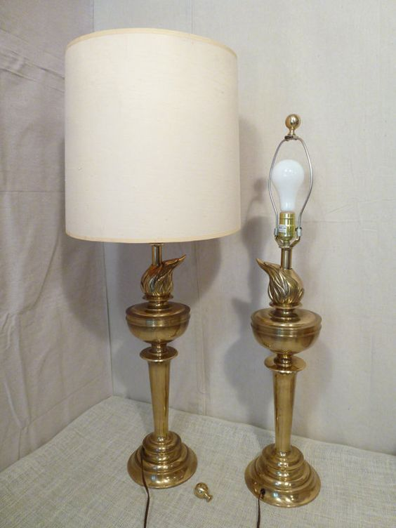 Pair of Brass Lamps Sunset Lamp Corp on Etsy, $149.00