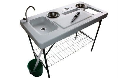 Portable camp fish cleaning table with faucet deluxe for Fish cleaning table bass pro