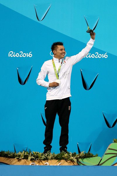 Silver medalists German Sanchez of Mexico poses on the podium during the medal ceremony for the Men's Diving 10m Platform on Day 15 of the Rio 2016 Olympic Games at the Maria Lenk Aquatics Centre on August 20, 2016 in Rio de Janeiro, Brazil.