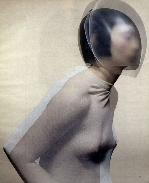 Cocoon dress by Hussein Chalayan, glass headpiece by Emi Fujita for Chalayan