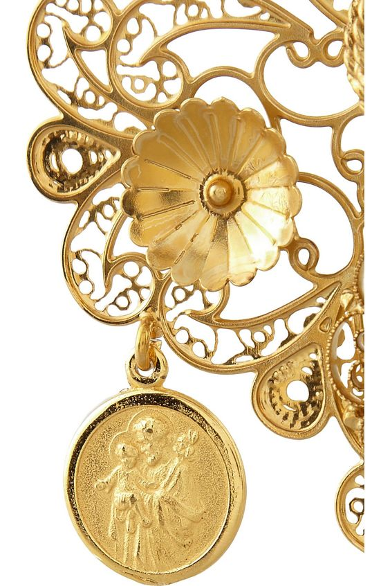 Dolce & Gabbana | Filigrana gold-plated chandelier clip earrings
