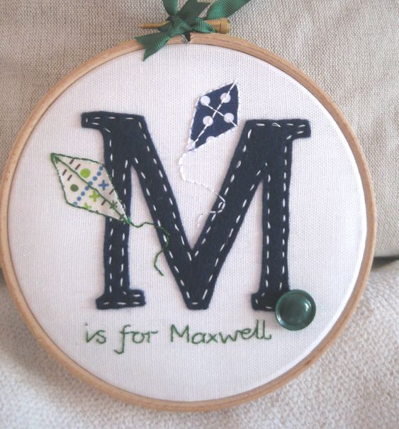 Embroidery Hoop Art - Applique Felt Initial - New Baby Nursery Wall Hanging.