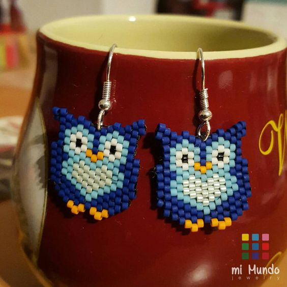 Owl miyuki brick stitch beaded earrings designed by Mi Mundo Jewelry for sale on Etsy  https://www.etsy.com/listing/268266681/owl-miyuki-beaded-earring-handmade-gift