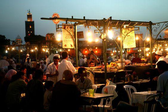 Food Stall on Djemma el-Fna by night