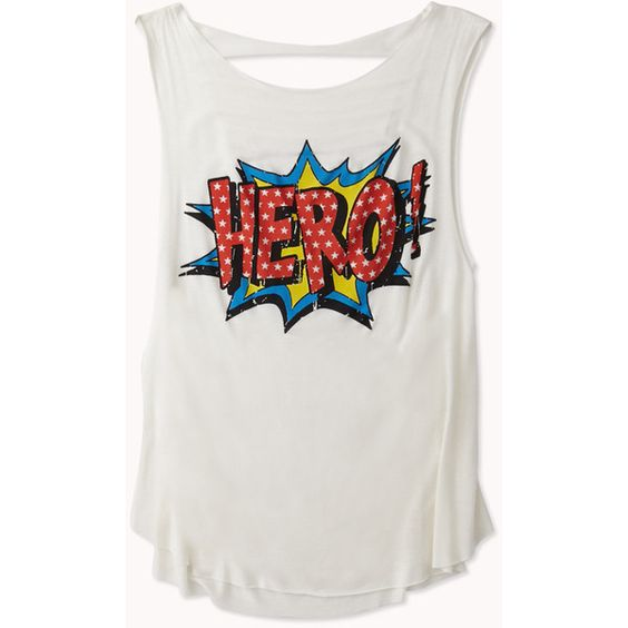 Hero! Graphic Muscle Tee ($16) ❤ liked on Polyvore featuring tops, shirts, tank tops, tanks, over sized shirts, lightweight shirt, oversized shirt, oversized tops and graphic tank tops