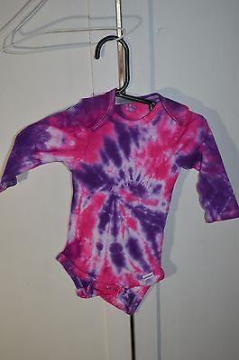 Tie Dye Gerber Hand Dyed Tie Dye Onsie Purple and Pink 3 to 9 Month Long Sleeve
