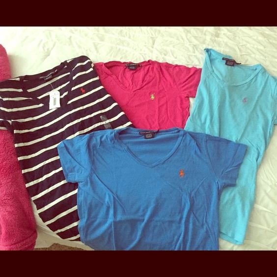 Ralph Lauren V-Necks Size small and extra smalls! All 4 will come with purchase! Polo by Ralph Lauren Tops