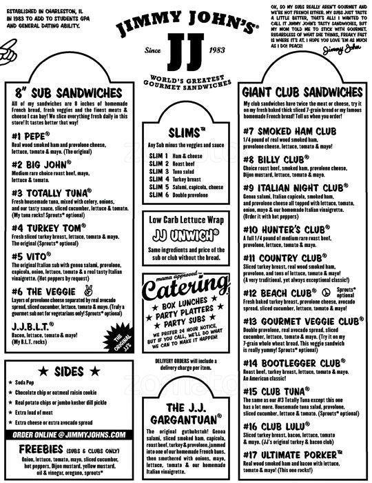 Jimmy Johns Printable Menu