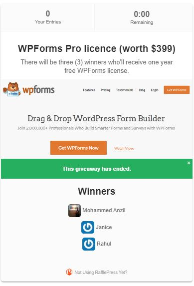 WPForms Giveaway: Win WPForms Pro Licence for One Year ($399 worth) 2