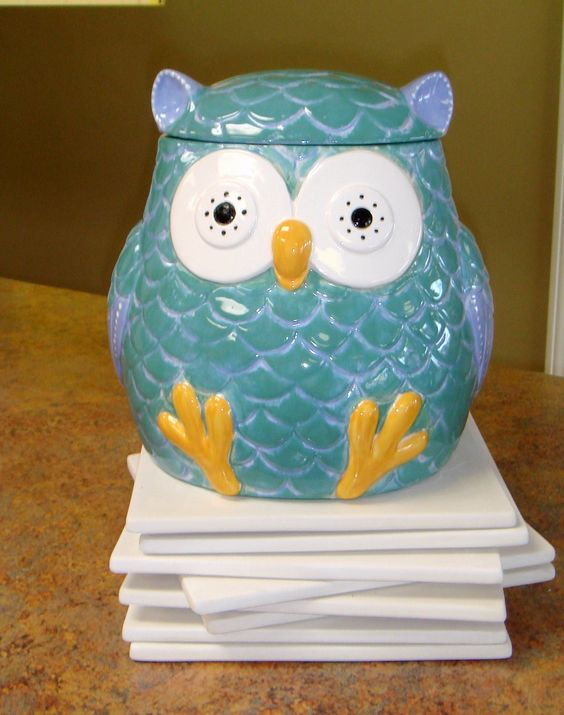 Chubby Owl Cookie Jar Ceramic Hand Painted By Claytopia On Etsy Ceramic Owls 2