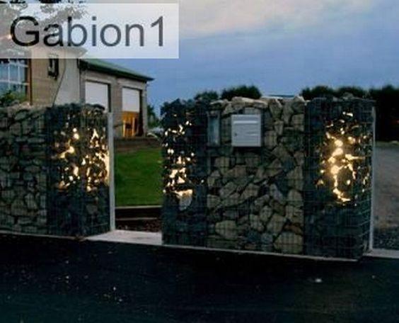 garden night lighting with gabions