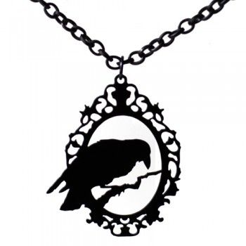 Raven cameo necklace