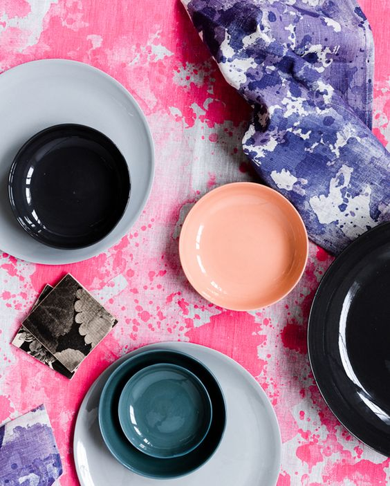 Ceramics by Mud Australia, linen and coasters by Bonnie and Neil.  Photo - Sean Fennessy.