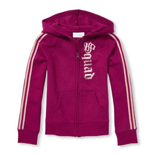 The Childrens Place Big Girls Zip Up Graphic Hoodie