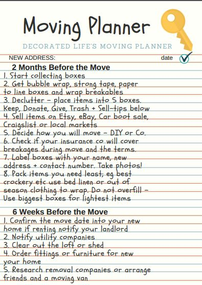 6 tips for moving house with a FREE Moving Planner PDF to download & print. Great tips for packing, decluttering, change of address, moving day kits + more