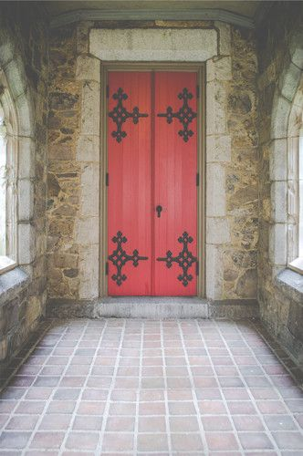 6252 Interior Stone Medieval Red Door Backdrop