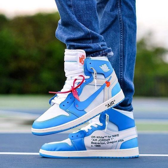 How To Get Nike Off White Air Jordan 1 Blue Sneakers Sneakers Fashion Shoes Sport Men Woman Style O Air Jordans Nike Shoes Jordans Off White Shoes