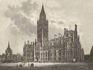 Framed engraving of Manchester Town Hall, to match the other two in the entrance hall