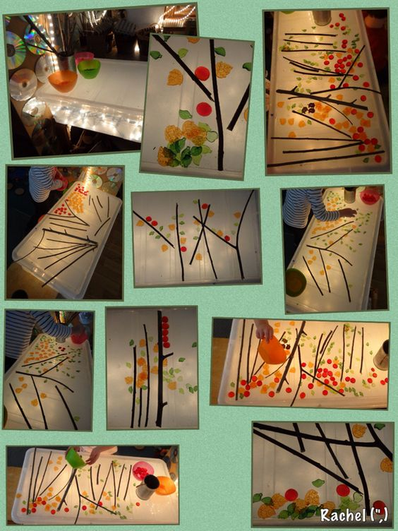 """Autumn Trees on the home-made lightbox - from Rachel ("""",)"""