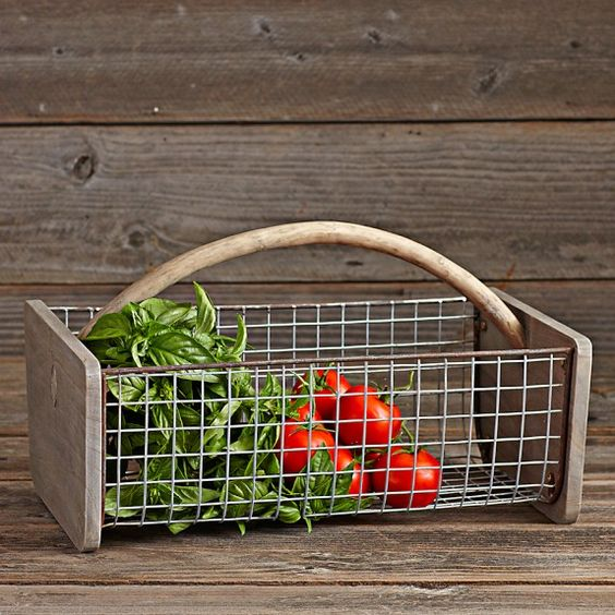 Gathering Basket - Paulownia wood-trimmed, antique-finished wire basket makes it a reliable companion at harvest time.