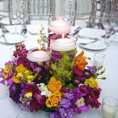 centro de mesa multicolor con velas fotograf a kio kreations centros de mesa pinterest. Black Bedroom Furniture Sets. Home Design Ideas