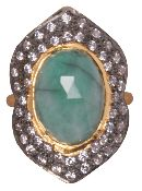This lovely ring features a rose cut oval emerald surrounded with white cz and black oxidixed silver.
