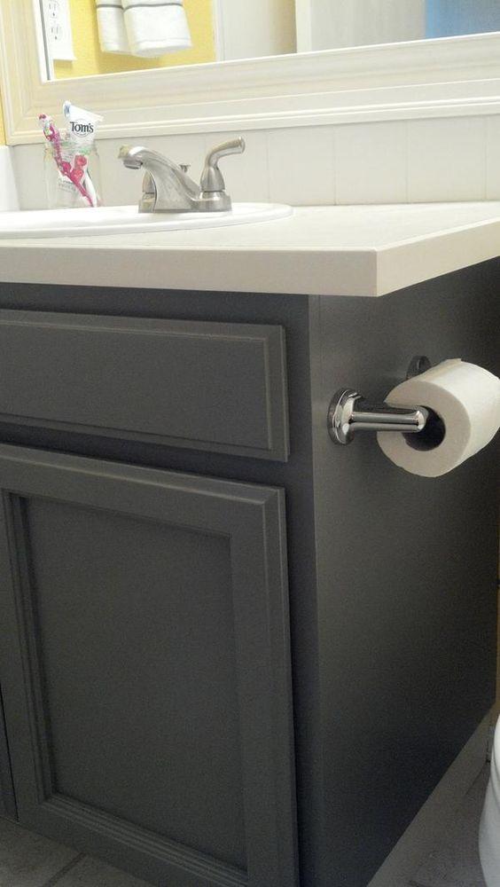 oak cabinets; refinished slate grey. for the master bath ...