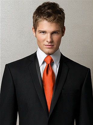 Orange tie with black suit | My Wedding Ideas <3 | Pinterest