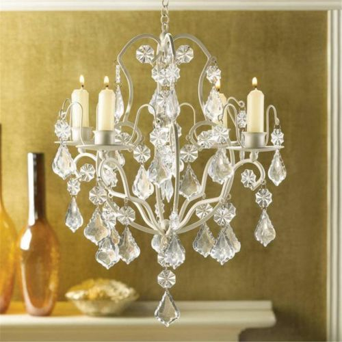 Chandelier Candleholder Hanging w Acrylic Crystal Prisms