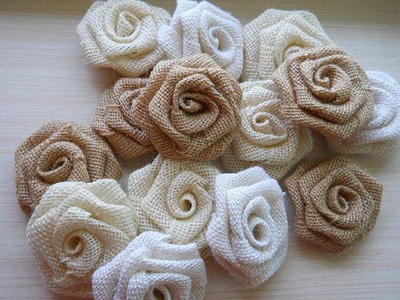 "ulk, Set of 20, 3"" Burlap Roses for weddings, bouquet making, wedding decor, diy weddings. Made to Order."
