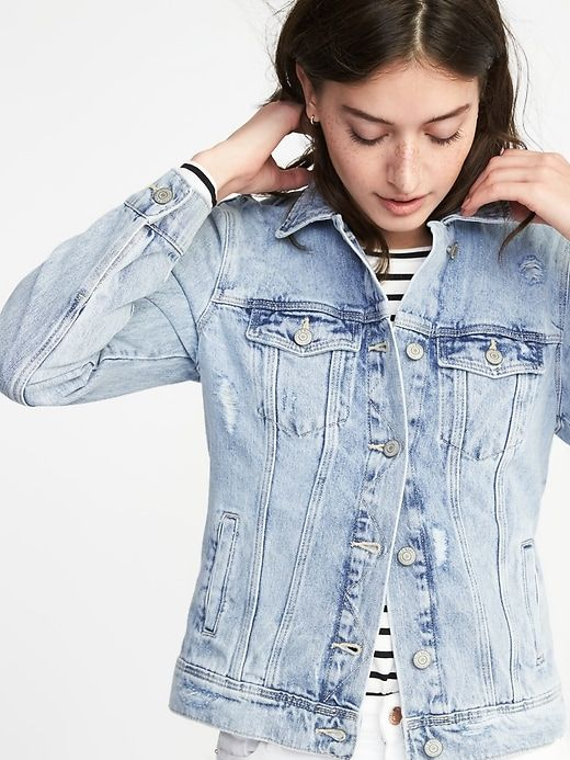 Old Navy Light Wash Distressed Denim Jacket Spring Transition Outfit Light Wash Denim Jacket Denim Jacket Women